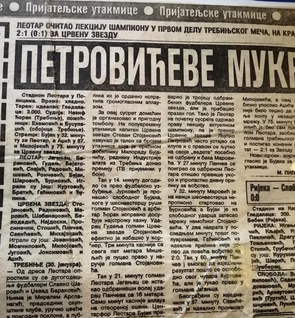 Leotar isjecak iz novina iz 1991 godine