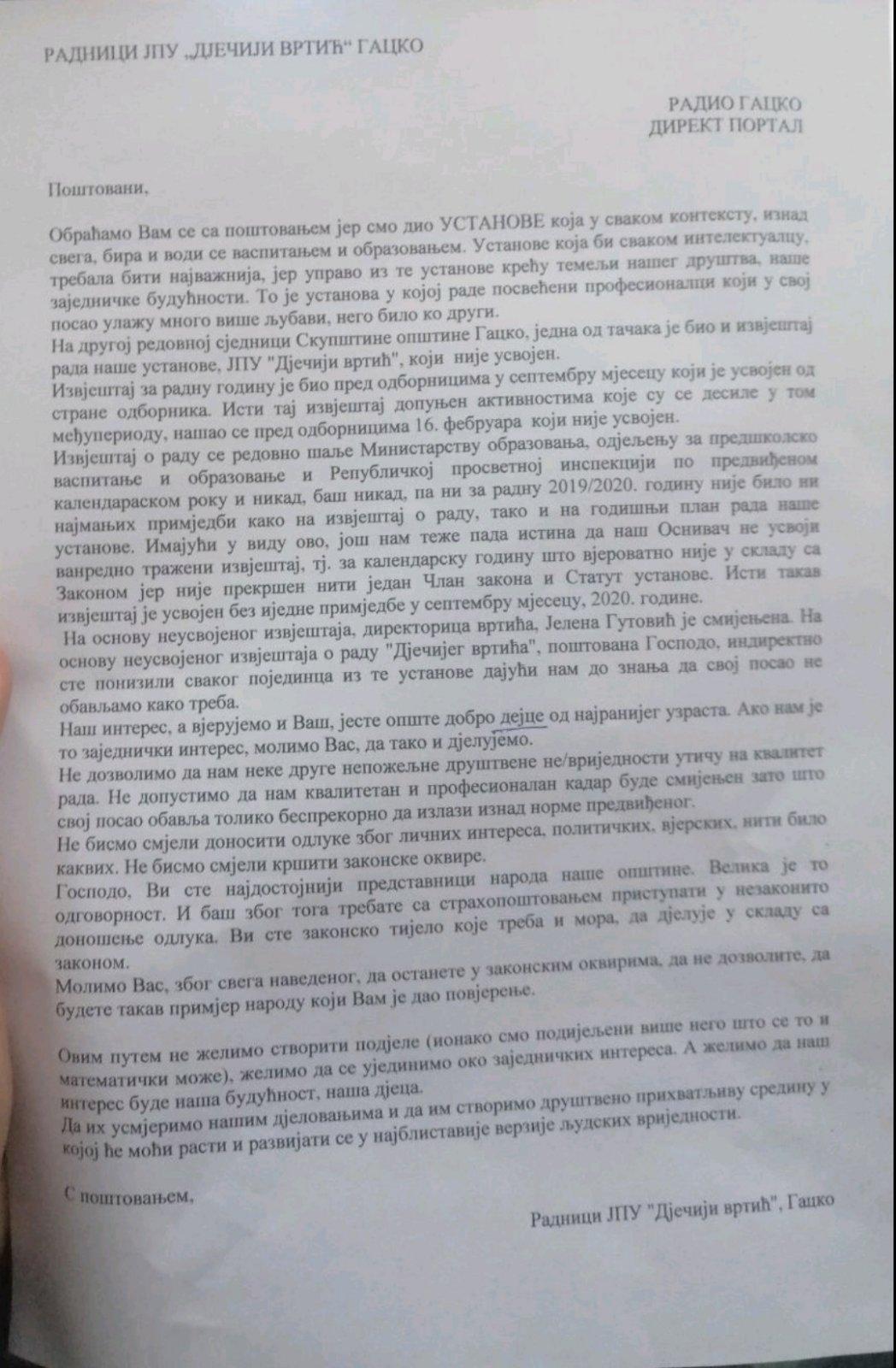 Radnici su pismo uputili načelniku opštine Gacko i predsedniku SO