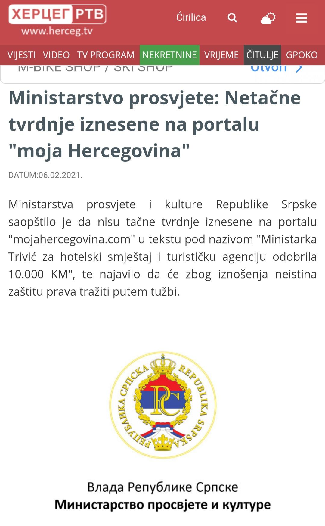 Herceg Tv demant na Moju Hercegovinu